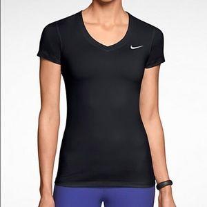 NIKE PRO women's short sleeve V neck